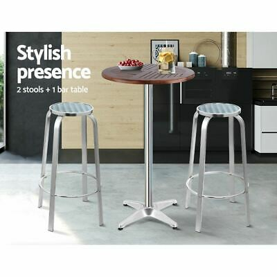 AU181.95 • Buy Bar Table Stools Outdoor Setting Bistro Set Patio Furniture Adjustable Silver
