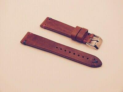 Genuine Italian Handmade Leather Vintage V Stitch Watch Strap / Nut Brown 22mm  • 3.99£