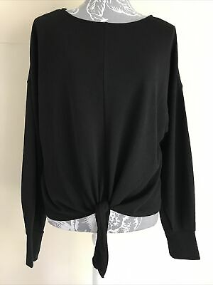 Bnwt Ladies Black Tie Front Long Sleeved Top Blouse From H&M Size S Small • 1.99£