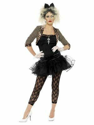 Madonna Costume Adult 80s Wild Child Ladies 1980s Popstar Fancy Dress Outfit • 21.49£