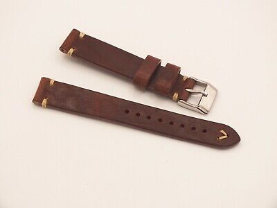 Genuine Italian V Stitch Leather Watch Strap 18mm Coffee Brown By Geckota • 3.99£