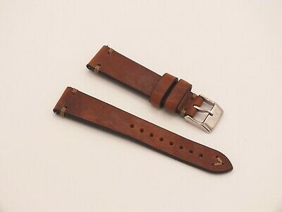Genuine Leather Quick Release V Stitch Watch Strap 20mm Brown By Geckota • 4.76£