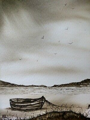 Original Watercolour Painting. Sepia Seas. Seascape. • 3£