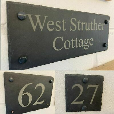 £34.99 • Buy Rustic Slate House Gate Sign Plaque Door Number Personalised Name Plate