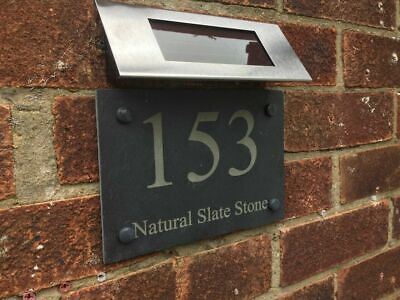 £39.99 • Buy Rustic Solar Slate House Gate Sign Plaque Door Number Personalised Name Plate