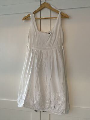 White Summer Baby Doll Cotton Dress With Lace Detail Hem Dorothy Perkins Size 10 • 1.20£