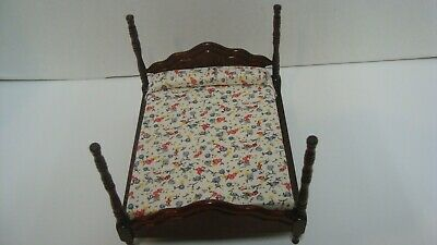 AU32.12 • Buy  1/12 Dollhouse Miniature Dble/Queen Wooden 4 Poster Bed Used #44479