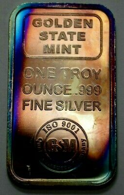 1 Oz 999 Fine Silver Bar Golden State Mint Bullion Vintage Ingot Toned ! • 35.75£