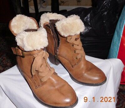 Pavers Relife Womens Boots Sz4 Light Brown With Fur Trim 1.5 In Heel • 6.75£