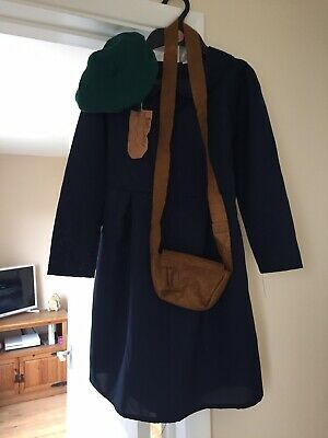 Girl's Navy Evacuee Costume For War Topic At School Inc Hat And Bag • 2.99£