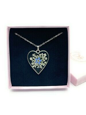£14.95 • Buy Heart Forget Me Not Flower Keepsake Pendant Silver Necklace. Remembrance Giftbox