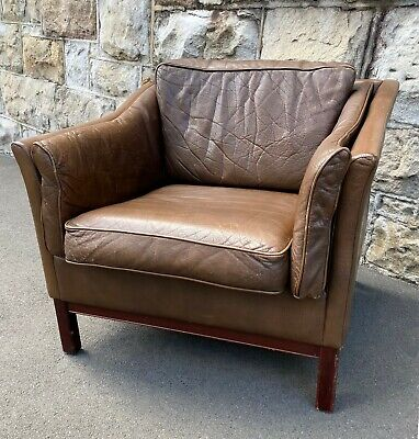 AU890 • Buy Brown Leather Danish Armchair, 1960s Mid Century Chair (matching 2 + 3 Seaters)