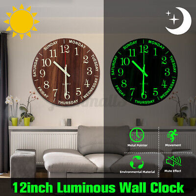 AU21.25 • Buy Round Luminous Silent Non Ticking Night Glow In The Dark Quartz Wall Clock BR
