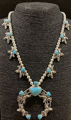 $ CDN468.15 • Buy Navajo Turquoise Sterling Silver Horse Squash Blossom Naja Necklace
