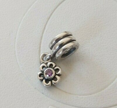 Pandora  Dangling Daisy Dangle Purple Cubic Zirconia Charm 790196PCZ • 10£