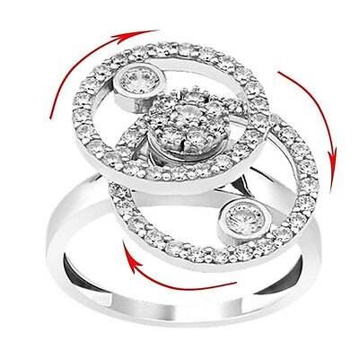 Women Lady 925 Silver Motion Dancing Spinner Spinning Ring Round White Zircon • 34.28£