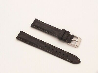 Genuine Italian Leather Quick Release Padded Watch Strap 18mm Black  By Geckota • 3.99£