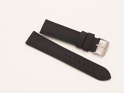 Canvas On Leather Watch Strap 22mm // Black By Geckota • 4.20£