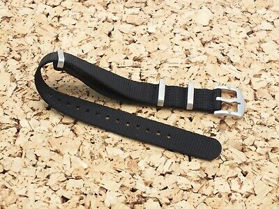 £4.99 • Buy Ballistic Nylon Military Style / Divers Watch Strap Black / 20mm Brushed Buckle