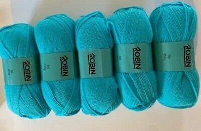 ROBIN DOUBLE KNITTING  DK WOOL 500g Pack - Turquoise Shade 0281 100% Acrylic • 11.49£