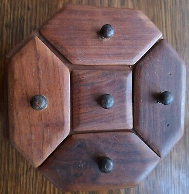 Pretty And Rare Handmade Wooden Octagonal Trinket/Storage Box, Five Compartments • 0.99£