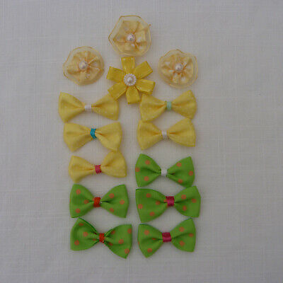 Handmade 10 Bows And 4 Flowers Satin Grosgrain Easter Craft Cardmaking • 1.70£