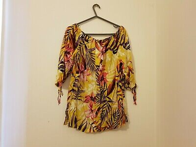 Yellow Floral Dress Women's Ladies Summery Size 10-12 • 1.10£