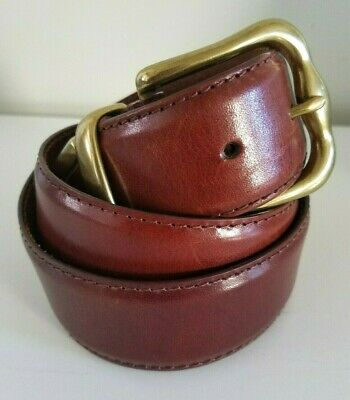 $15.99 • Buy FOSSIL Men's Brown Smooth Leather Belt Brass Buckle/Tip Size L NICE!