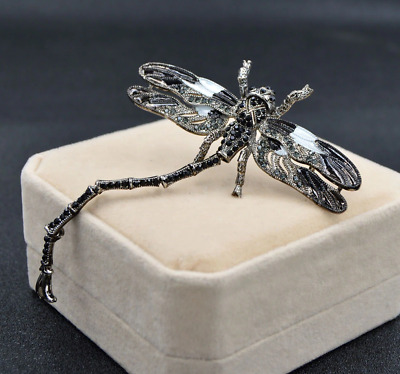 £9.75 • Buy Vintage Art Nouveau Articulated Black Silver Enamel DRAGONFLY Insect Brooch/ Pin