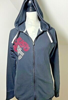 Nike Dri Fit Size M 14 Hoodie Track Top Black And Pink Just Do It Zip Front • 21£