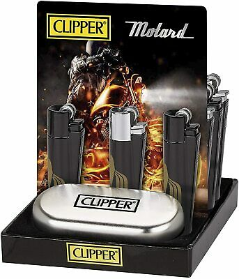 Metal Clipper Lighter Refillable Cigarette Gas Flint With Gift Tin Case Box • 7.99£
