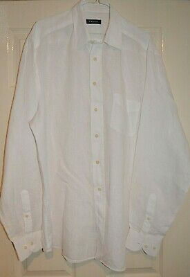 £34.99 • Buy Canali -italy Smart Elegant White 100% Linen Casual Shirt Xxl