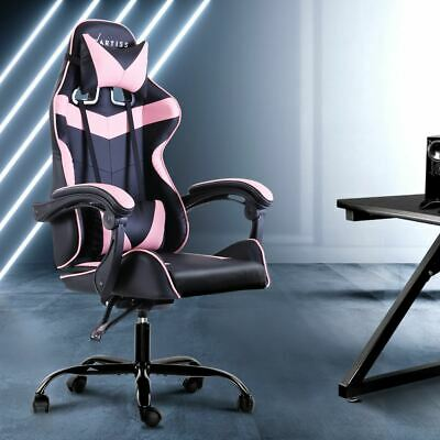 AU260.95 • Buy Height Adjustable Office Gaming Chair Lockable Recliner Rotatable Seat Pink