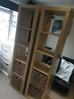 Two IKEA BILLY Bookcase Beech Veneer (184.5x39x44cm) X2 With Storage Boxes X4 • 25£