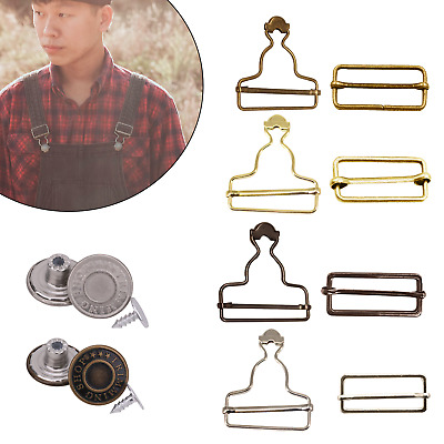 £3.59 • Buy Dungaree Fasteners Clips Rectangle Tri Glide Slider Buckles Jeans Buttons Set