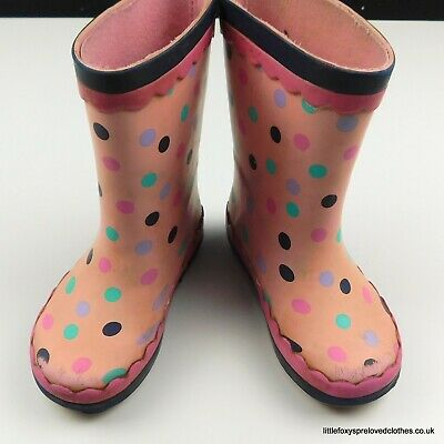 £4.50 • Buy 6 UK Infant/23 EUR Girls George Pink Spotty Wellies Rain Boots Puddles Rubber