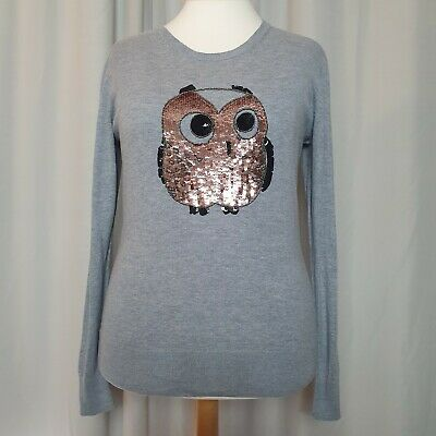 £16 • Buy FRENCH CONNECTION Grey Sequin Owl Jumper (Size XL/UK 14-16) Fine Knit