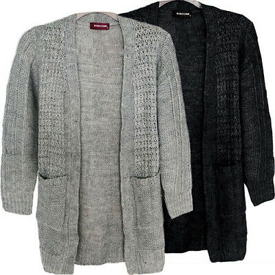 £10.99 • Buy Womens Ladies Cable Chunky Knit Long Sleeve Open Front Pocket Cardigan Black