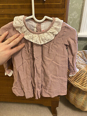 Amaia Pink Long Sleeve Dress With Lace Collar And Cuffs 12 Months • 10£