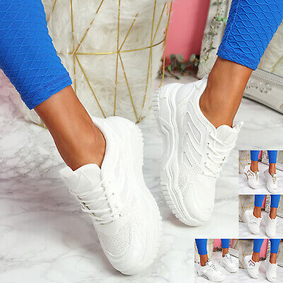 $ CDN29.79 • Buy Womens Ladies Chunky Glitter Trainers Sneakers Sport Lace Up Women Shoes Size