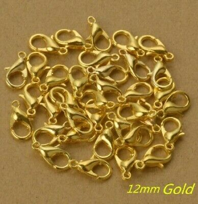12mm X 6mm Gold Lobster Clasp Clasps Hook Hooks Necklace Bracelet Findings K22 • 1.75£