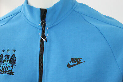 Mens Nike Blue MCFC Athletic Track Top L Zip Top Football Tracky Man City • 5£