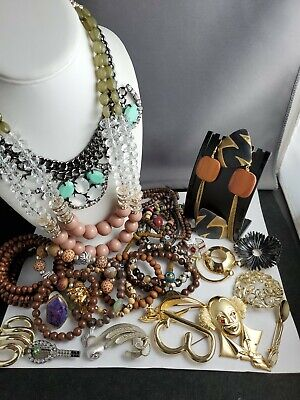 $ CDN12.66 • Buy Vintage Jewelry Lot Includes Signed...wooden, Brooches,necklaces, Rings,silver
