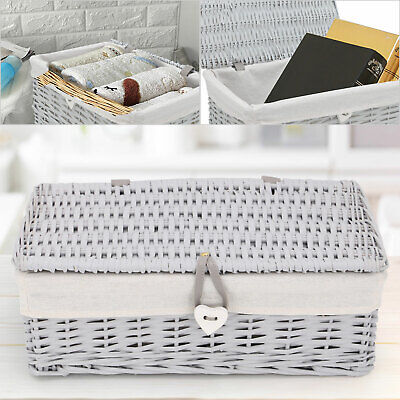 Grey Painted Lid Wicker Storage Collection Christmas Gift Hamper Wicker Basket • 22.99£