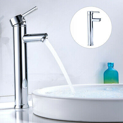 £19.99 • Buy Modern Bathroom Tall Taps Basin Sink Mono Mixer Chrome Cloakroom Tap 2 Hoses BR