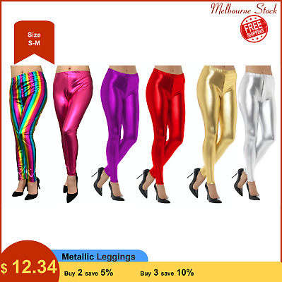 AU10.99 • Buy Metallic Leggings Stretchy Pants Neon Fluro Shiny Glossy Dress Up Dance Party
