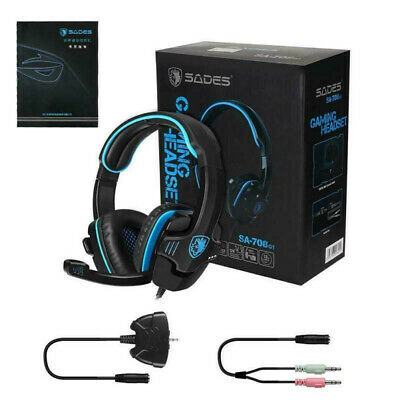 AU28.59 • Buy Sades SA-708GT Stereo Gaming Headphones Headset Headband With MIC For PC Laptop