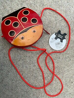 BNWT Small Leather Ladybird Bag/Purse. Long Strap And Zip Closure • 2.50£