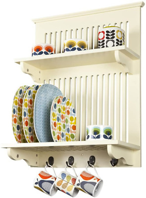Aston Buttermilk Kitchen Plate Rack Wooden And Wall Mounted Solid Top Shelf New • 74.99£