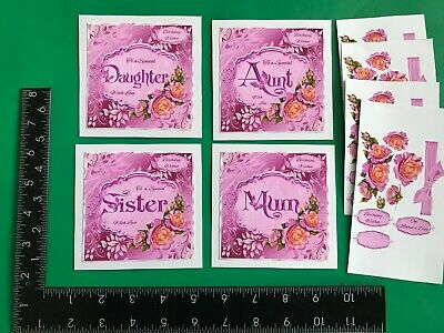 £2.99 • Buy Set Of 4 Handmade Female Mothers Day/birthday Card Toppers And Sentiments